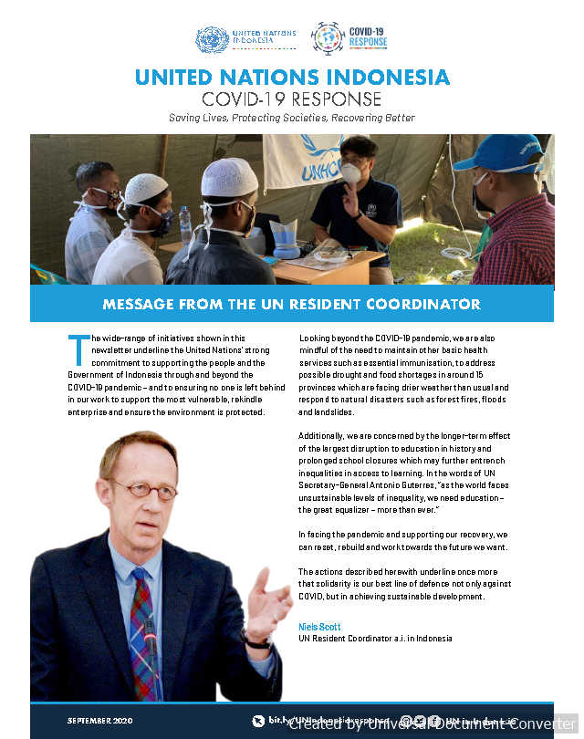 UN in Indonesia COVID-19 Response Newsletter September 2020