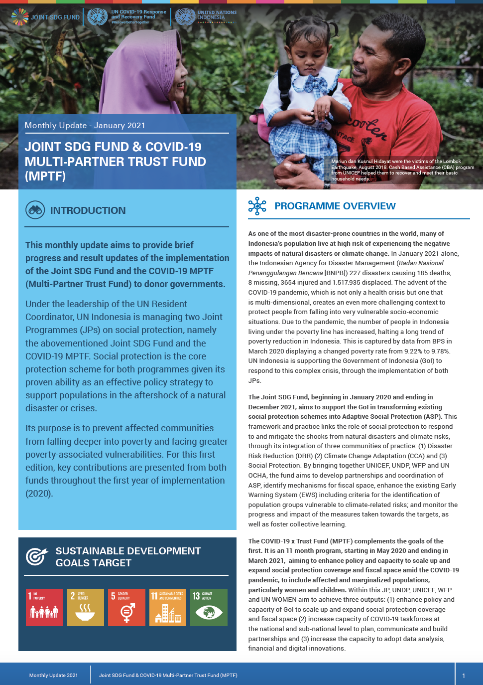 Newsletter Joint SDG Fund  COVID-19 MPTF - January 2021