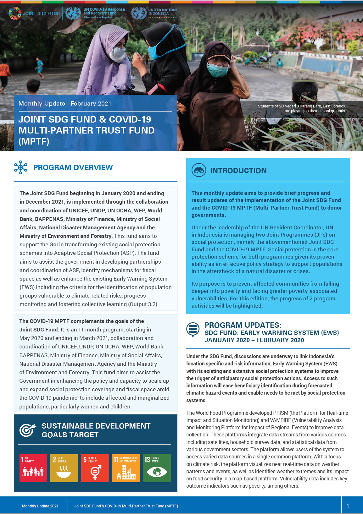 Newsletter Joint SDG Fund COVID-19 MPTF - February 2021