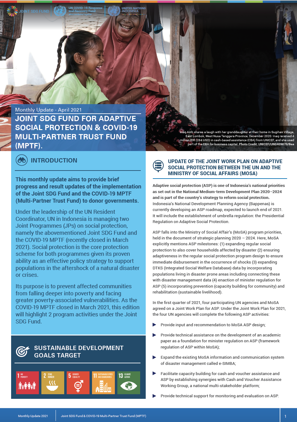 Newsletter Joint SDG Fund COVID-19 MPTF - April 2021