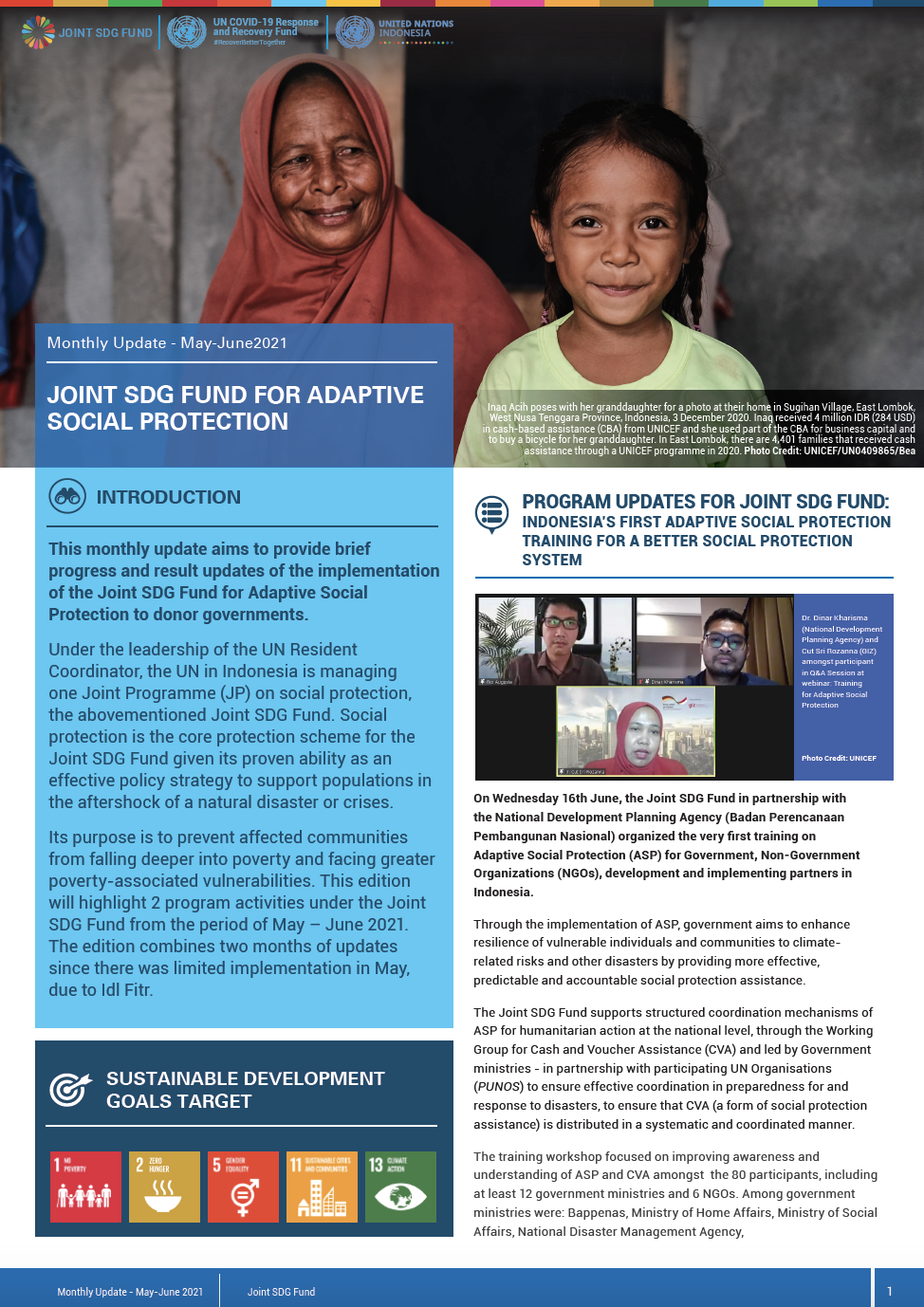 Newsletter Joint SDG Fund COVID-19 MPTF - June 2021